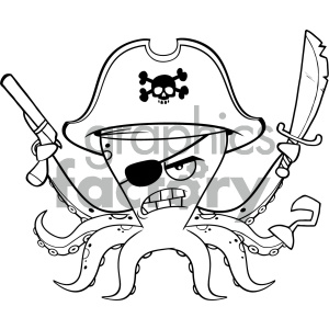 cartoon animals vector pirate octopus black+white outline weapon hostile
