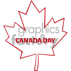 Royalty Free RF Clipart Illustration Outlined Canadian Maple Leaf Red Line Cartoon Drawing Vector Illustration Isolated On White Background With Text Canada Day clipart. Commercial use image # 404274
