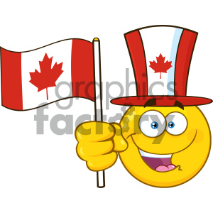 Patriotic Yellow Cartoon Emoji Face Character Wearing A Maple Leaf Top Hat Waving An Canadian Flag