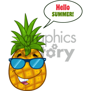 Smiling Pineapple Fruit With Green Leafs And Sunglasses Cartoon Mascot Character Design With Speech Bubble And Text Hello Summer clipart. Commercial use image # 404282