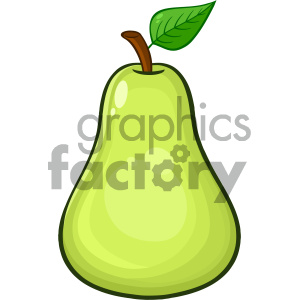 Royalty Free RF Clipart Illustration Green Pear Fruit With Green Leaf Cartoon Drawing Simple Design Vector Illustration Isolated On White Background clipart. Commercial use image # 404294