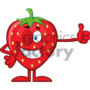Royalty Free RF Clipart Illustration Winking Strawberry Fruit Cartoon Mascot Character Giving A Thumb Up Vector Illustration Isolated On White Background clipart. Royalty-free image # 404312