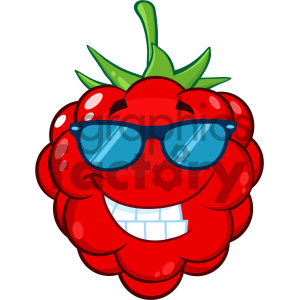 Royalty Free RF Clipart Illustration Smiling Raspberry Fruit Cartoon Mascot Character With Sunglasses Vector Illustration Isolated On White Background clipart. Royalty-free image # 404345