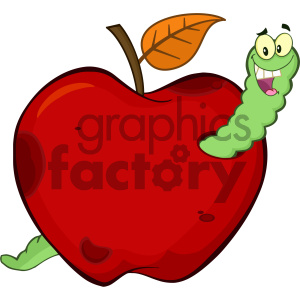 Royalty Free RF Clipart Illustration Happy Worm In A Rotten Red Apple Fruit Cartoon Mascot Character Design Vector Illustration Isolated On White Background clipart. Royalty-free image # 404361