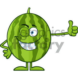 Royalty Free RF Clipart Illustration Winking Green Watermelon Fresh Fruit Cartoon Mascot Character Giving A Thumb Up Vector Illustration Isolated On White Background clipart. Royalty-free image # 404366