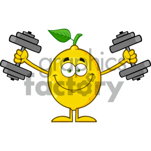 Royalty Free RF Clipart Illustration Smiling Yellow Lemon Fresh Fruit With Green Leaf Cartoon Mascot Character Working Out With Dumbbells Vector Illustration Isolated On White Background