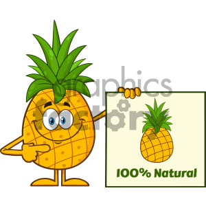 Smiling Pineapple Fruit With Green Leafs Cartoon Mascot Character Pointing To A 100 Percent Natural Sign clipart. Royalty-free image # 404426