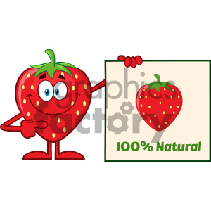Royalty Free RF Clipart Illustration Smiling Strawberry Fruit Cartoon Mascot Character Pointing To A 100 Percent Natural Sign Vector Illustration Isolated On White Background clipart. Royalty-free image # 404431