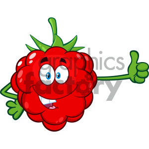 Royalty Free RF Clipart Illustration Red Raspberry Fruit Cartoon Mascot Character Giving A Thumb Up Vector Illustration Isolated On White Background clipart. Royalty-free image # 404454