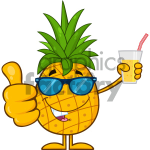 Pineapple Fruit With Green Leafs And Sunglasses Cartoon Mascot Character Holding Up A Glass Of Juice And Giving A Thumb Up clipart. Commercial use image # 404455