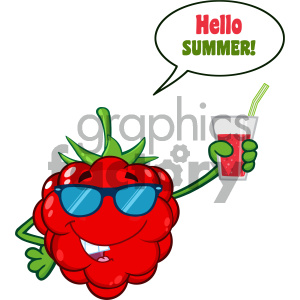 Raspberry Fruit Cartoon Mascot Character With Sunglasses Holding Up A Glass Of Juice With Speech Bubble And Text Hello Summer clipart. Commercial use image # 404459