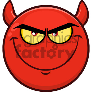 Royalty Free RF Clipart Illustration Smiling Red Cartoon Smiley Face Character With Evil Expressions Vector Illustration Isolated On White Background clipart. Royalty-free image # 404483