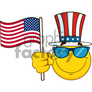 Smiling Yellow Cartoon Emoji Face Character With Sunglasses Wearing A Top Hat And Waving An American Flag clipart. Royalty-free image # 404492