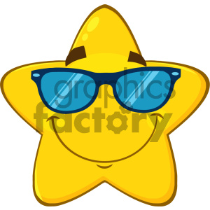 Royalty Free RF Clipart Illustration Smiling Yellow Star Cartoon Emoji Face Character With Sunglasses Vector Illustration Isolated On White Background clipart. Royalty-free image # 404524