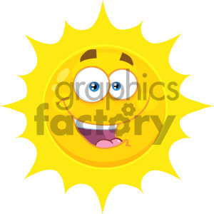Royalty Free RF Clipart Illustration Happy Yellow Sun Cartoon Emoji Face Character With Expression Vector Illustration Isolated On White Background clipart. Commercial use image # 404536