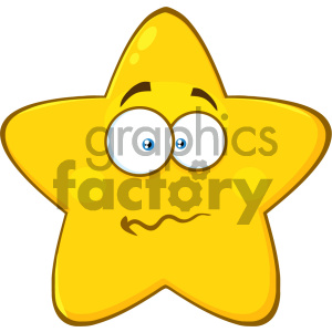 Royalty Free RF Clipart Illustration Nervous Yellow Star Cartoon Emoji Face Character With Confused Expression Vector Illustration Isolated On White Background