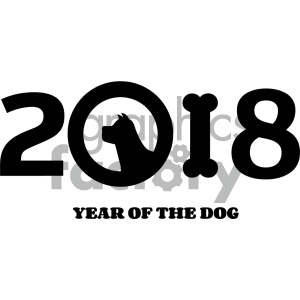 Clipart Illustration Year Of Dog 2018 Numbers Design With Dog Head Silhouette And Bone Vector Illustration Isolated On White Background clipart. Royalty-free image # 404569