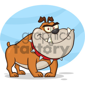 Clipart Illustration Angry Bulldog Dog Cartoon Mascot Character Brown Color Vector Illustration Isolated On White Background 1