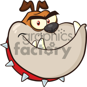 Clipart Illustration Angry Bulldog Dog Head Cartoon Mascot Character Brown Color Vector Illustration Isolated On White Background