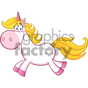Clipart Illustration Smiling Magic Unicorn Cartoon Mascot Character Running Vector Illustration Isolated On White Background
