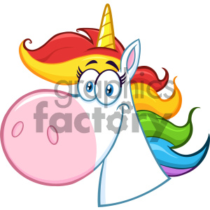 Clipart Illustration Smiling Magic Unicorn Head Cartoon Mascot Character Vector Illustration Isolated On White Background 1