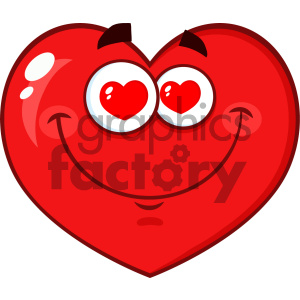 Infatuated Red Heart Cartoon Emoji Face Character With Hearts Eyes Vector Illustration Isolated On White Background clipart. Commercial use image # 404609