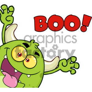 Green Monster Cartoon Emoji Character Scaring Vector Illustration Isolated On White Background With Text Boo