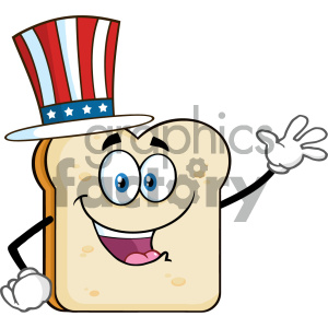 American Bread Slice Cartoon Mascot Character Waving For Greeting Vector Illustration Isolated On White Background