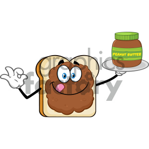 Bread Slice Cartoon Mascot Character With Peanut Butter Holding A Jar Of Peanut Butter Vector Illustration Isolated On White Background clipart. Royalty-free image # 404643