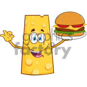 Cheese Cartoon Mascot Character Presenting A Perfect Burger Vector Illustration Isolated On White Background clipart. Royalty-free image # 404655