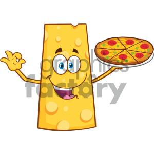 Cheese Cartoon Mascot Character Presenting A Perfect Pizza Vector Illustration Isolated On White Background clipart. Royalty-free image # 404673