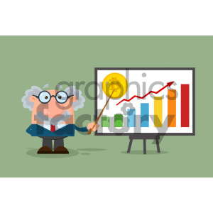 Professor Or Scientist Cartoon Character With Pointer Discussing Bitcoin Growth With A Bar Graph VVector Illustration Flat Design With Background clipart. Royalty-free image # 404675