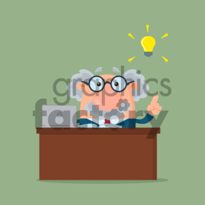Professor Or Scientist Cartoon Character Behind Desk With A Big Idea Vector Illustration Flat Design With Background clipart. Royalty-free image # 404683