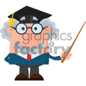 Professor Or Scientist Cartoon Character With Graduate Cap Holding A Pointer Vector Illustration Flat Design Isolated On White Background clipart. Commercial use image # 404691