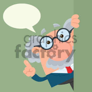 Professor Or Scientist Cartoon Character Looking Around Corner With Speech Bubble Vector Illustration Flat Design With Background clipart. Royalty-free image # 404699