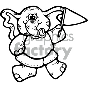 cartoon black and white elephant clipart. Royalty-free image # 404757