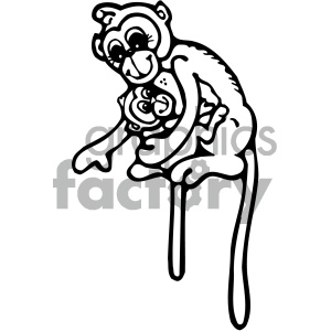 cartoon clipart monkey 011 bw clipart. Royalty-free image # 404771