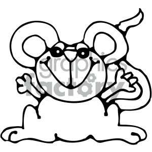 cartoon mouse 010 bw clipart. Commercial use image # 404807