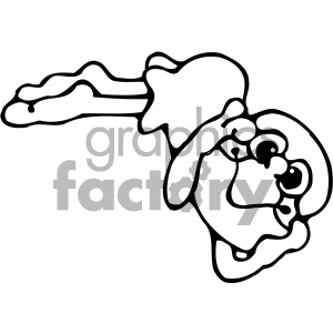 cartoon clipart frog 004 bw
