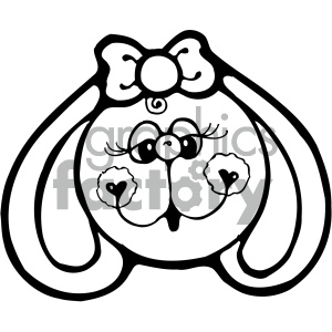 cartoon clipart bunny 006 bw clipart. Royalty-free image # 404851