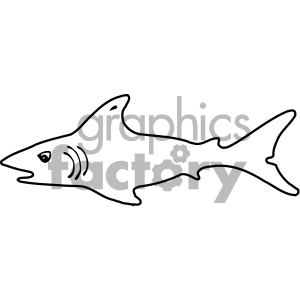 cartoon clipart shark 002 bw clipart. Commercial use image # 404923