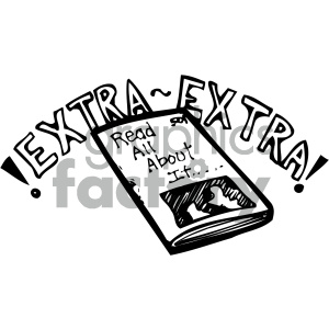 extra extra newspaper 007 bw clipart. Commercial use image # 405021