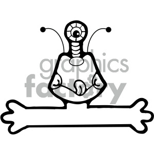 vector art monster 001 bw clipart. Commercial use image # 405055