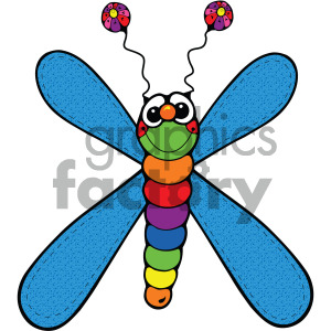 cartoon blue dragonfly clipart. Royalty-free image # 405235