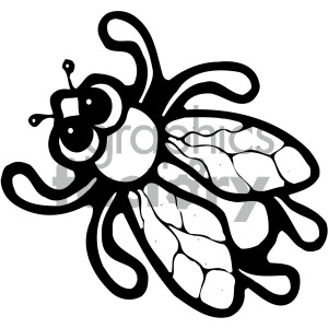 cartoon insect bugs black+white flies