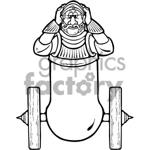 black and white knight in cannon clipart. Royalty-free image # 405288