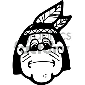 black and white native american boy art clipart. Royalty-free image # 405317