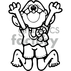 black and white cartoon girl jumping art clipart. Commercial use image # 405347
