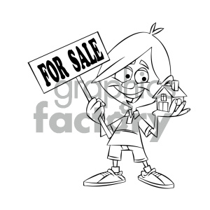 black and white cartoon guy holding a house for sale clipart. Commercial use image # 405598