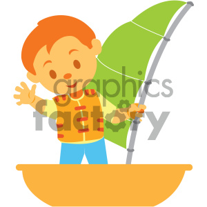 boy on a boat vector illustration clipart. Commercial use image # 405981